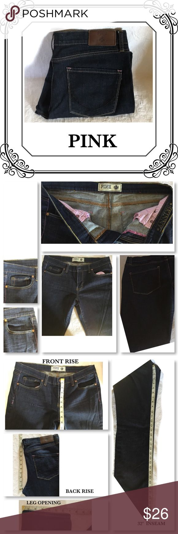 PINK VS DARK WASH SKINNY JEANS PRICE FIRM UNLESS NWT //   being on a drawer for some time, too big for my teen //  SIZE  12 R SKINNY //  SEE PIC FOR MEASUREMENTS -PRICE FIRM UNLESS BUNDLE PINK Victoria's Secret Jeans Skinny