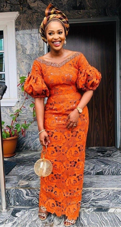african gown lace ebi aso pagne dentelle africaine robe ankara nigerian guest asoebi longue africain tenue femme mode orange guests