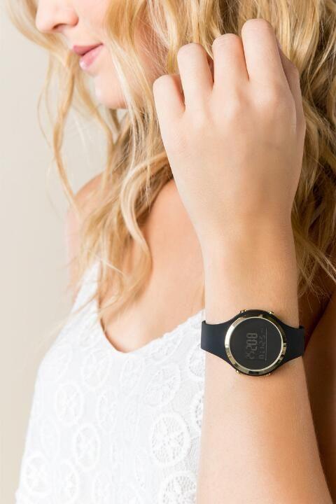 Nina Round Digital Watch- Black model                                                                                                                                                                                 More