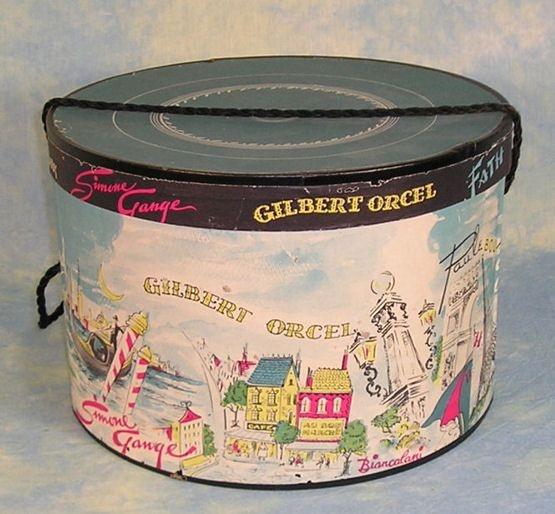 decorative vintage ladies hat box having graphics of several European travel scenes
