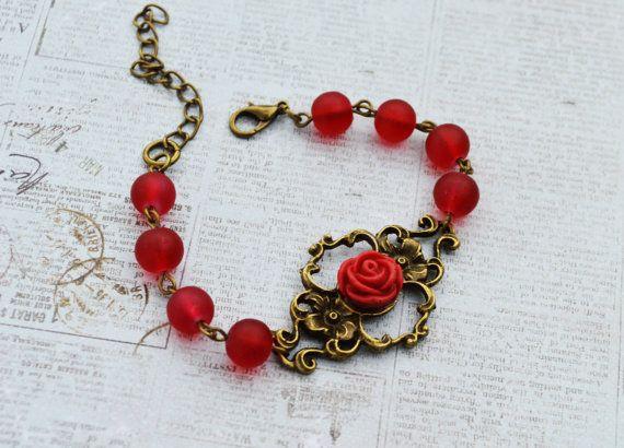 Vintage style red rose flower bracelet by EllaHandmadeUnuque
