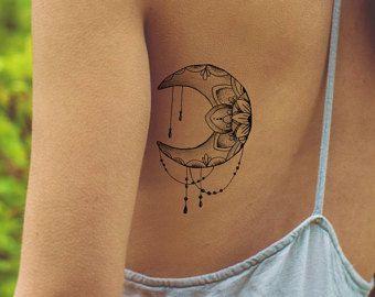 Lotus Tattoo / Fake Tattoo / Feminine Temporary Tattoo / Tattoo Moon Boho Vintage Tattoo Floral Tattoo Festival Tattoo Lotus Mandala