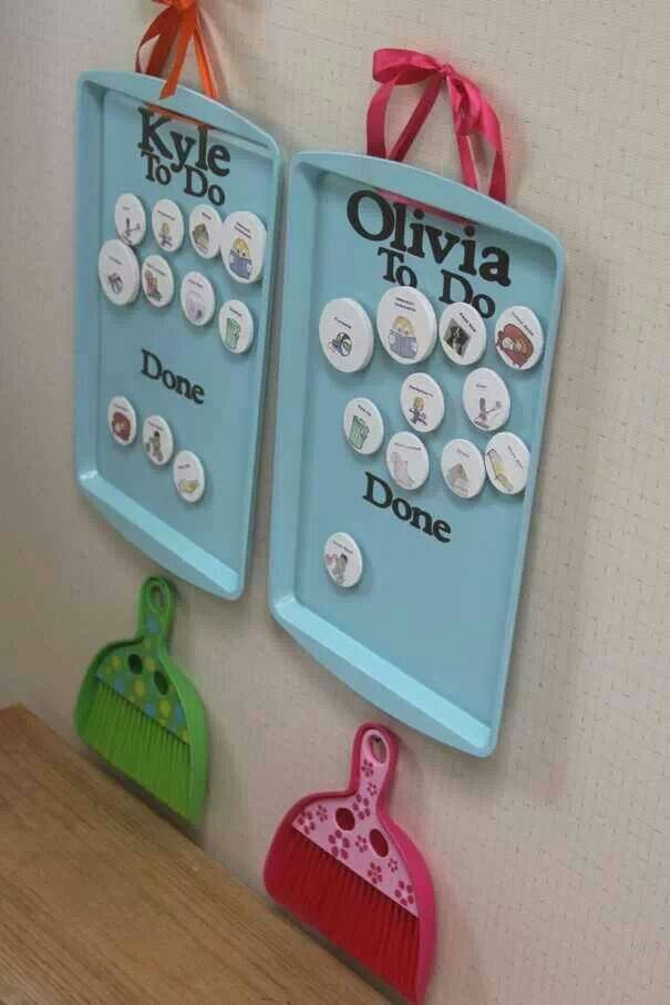 Magnetic Chore Board- {spray painted dollar store cookie sheet, hand made photo magnets and personal dustpan. Fun!}