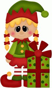 Silhouette Design Store - View Design #71975: girl elf w christmas present