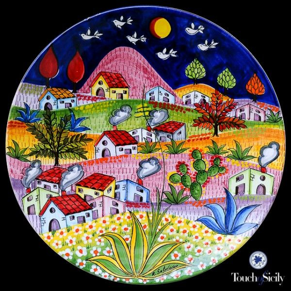 italian ceramics - Decorative Plate Landscape - $615.00