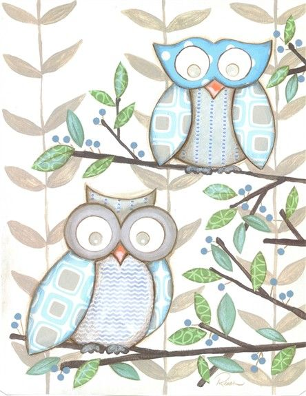 Owls! Love this art for an owl-themed room.