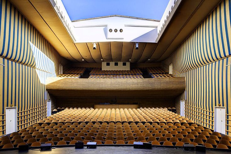 Interior of the Bellevue Teatret, Copenhagen, Arne Jacobsen, 1936  Photo by Kurt Rodahl Hoppe