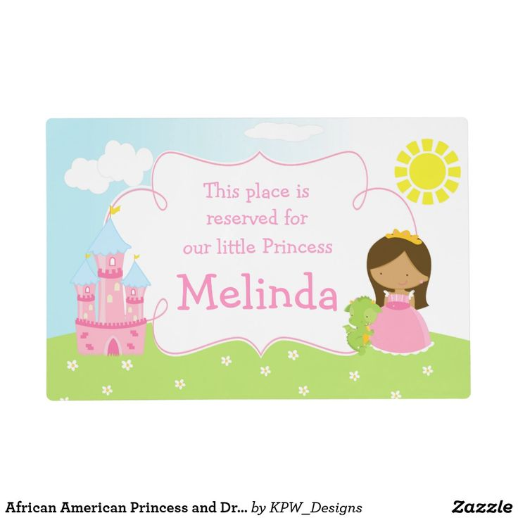 African American Princess and Dragon Placemat