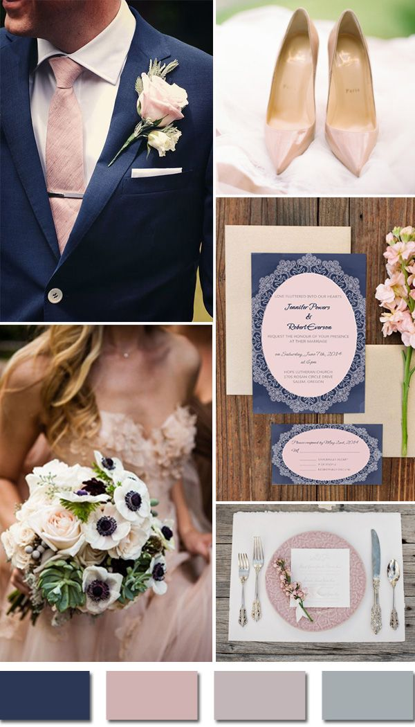 rustic navy blue and pink blush fall wedding color ideas and wedding invitations