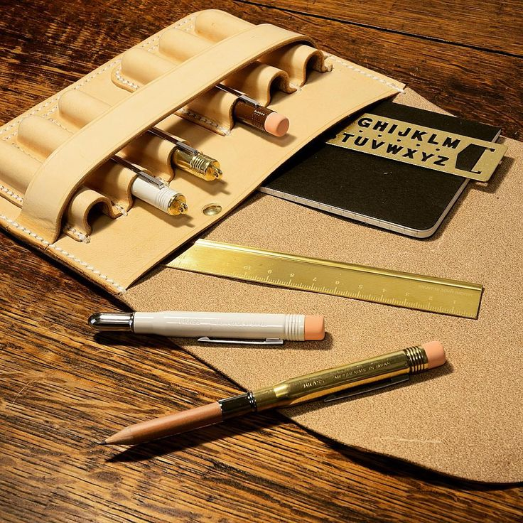 And the inside of the stationery salesman's case.  These bullet pencils & pens are so sweet and the brass ruler is the icing on the cake.  #wilboro #carry4life #leather #leathercase #leatherforming #leathercraft #handmade #madeinottawa #midoribrass #bulletpencil #brass