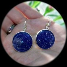 Pendientes Orgonita - Azules con piedra mini turquesa