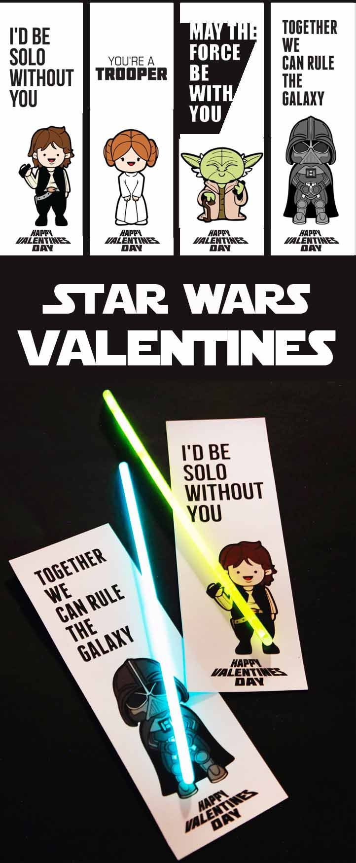 Star Wars valentines! Pair the printable card with a glow stick for an easy and inexpensive valentine. Perfect for a class Valentine's Day party. #starwars #printable #valentinesday