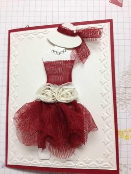 all dressed up-Scallop tulle cherry cobbler, dress form glossy white, shimmery white with framed tulip emboss folder; oval punches for hat in shimmery white, vanilla flower trim, rhinestones, cherry cobbler base card