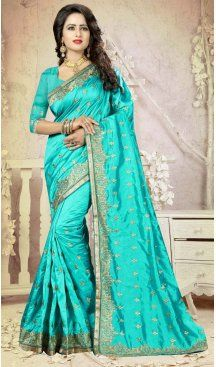 Turquoise Color Art Silk Embroidery Party Saree | FH586486347 Sale up to 19% off end in 31 July Hurry Follow us @Heenastyle