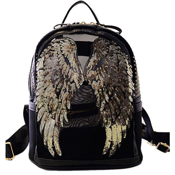 Black Sequined Wing Stud Embellished PU Backpack (1.525 UYU) ❤ liked on Polyvore featuring bags, backpacks, knapsack bags, black rucksack, rucksack bag, black bag and backpacks bags