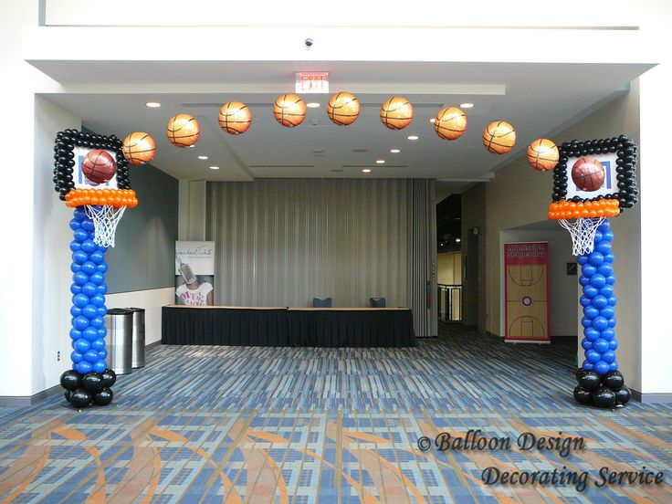 basketball+balloon+centerpieces | Basketball arch