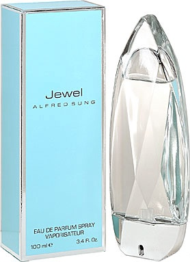 Jewel Alfred Sung. One of the most interesting Sung's fragrances by design is for sure Jewel – a real jewel of the Sung's collection. Transparent and luminous, wafting with floral waves it was presented in 2005. In the top notes it brings a bright optimism of neroli and sweetness of mouthwatering pear, slightly touched by nutmeg. The heart is composed of orange blossom, jasmine, and exotic frangipani. The base is composed of coconut, plum and mimosa.