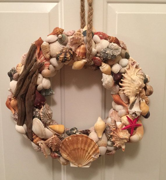 Multicolored Seashell and Driftwood Wreath by LaDonnaDoorDecor
