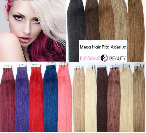 Mega Hair Fita Adesiva 46 cm - 40 Gramas Cabelo Humano Cores #01 /#1B /#02 /#04 /#08 /#12 /#16 /#24 /#27 /#613 /#60/ #AZUL /#BORGONHA/#LILAS /#ROSA/#VERMELHO //Price: $201.14 & FREE Shipping