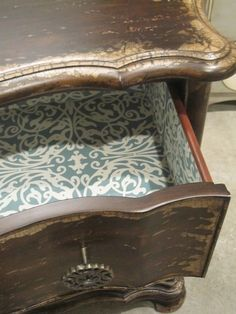 Lining Furniture Drawers with Pretty Paper - Where do you get yours? - I love the look of furniture that has paper (is it wallpaper? scrapbooking paper?) lining…