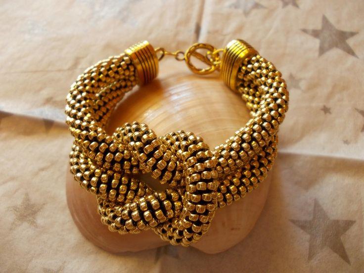 złota, podwójna z węzłem, z koralików Toho110