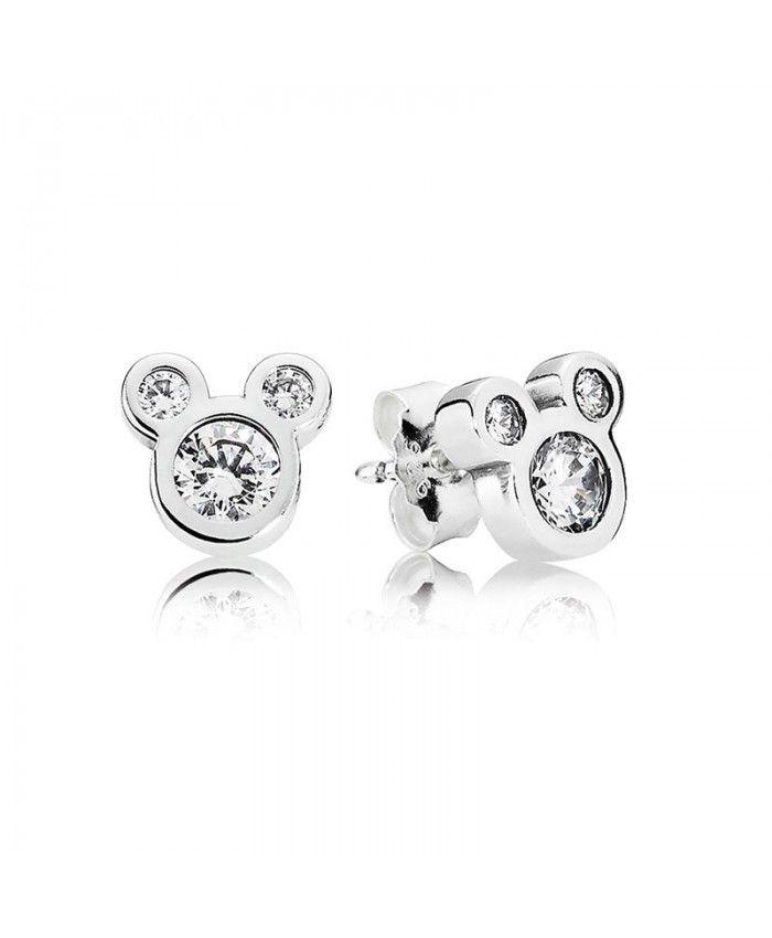 plus près de coût modéré dessin de mode Pas Cher Pandora Disney Dazzling Mickey avec cz Boucles d ...