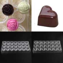 KECTTIO Valentine's Day heart shape plastic chocolate , polycarbonate chocolate tools,kitchen pastry bakeware chocolate mold(China (Mainland))