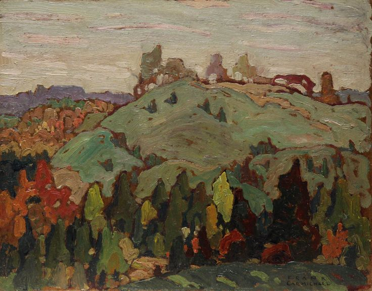 'Hillside, Bolton Ontario', 1915, oil on panel by Franklin Carmichael at Mayberry Fine Art