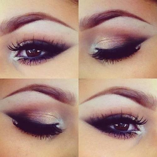 Light smokey eyes ideas for #BrownEyes. Note the white #eyeshadow in the inner corner of the #eyes and False Eyelashes. // FalseEyelashes