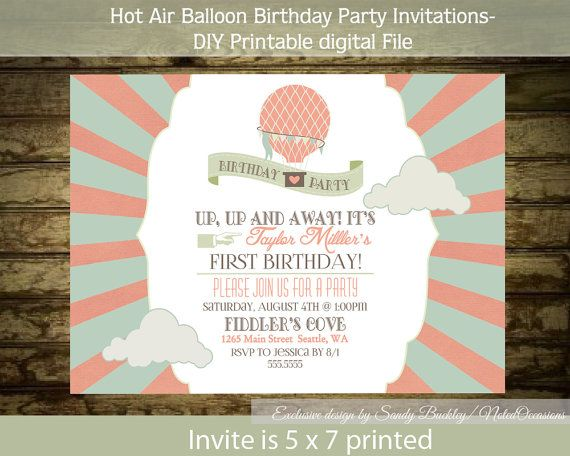 Hot Air Balloon Birthday Party Invitation Circus Digital Printable File Childrens Kids P Lily S 1st Ideas