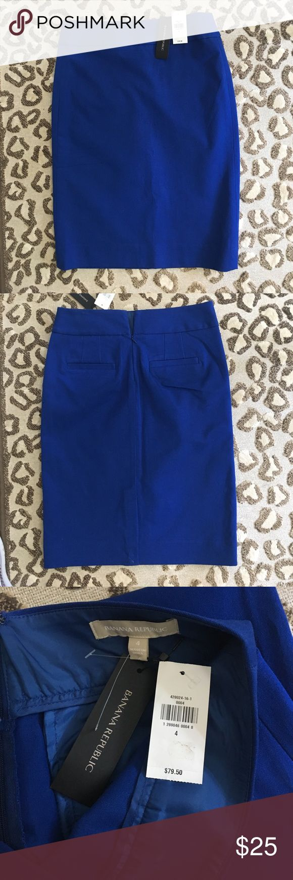 New with tags! Banana Republic Pencil Skirt New with Tags! Banana Republic royal blue pencil skirt. Thick cotton like material. Size 4 Banana Republic Skirts Pencil