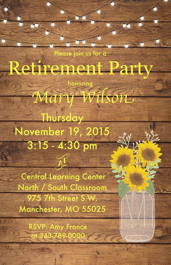 Retirement Party Invitation Rustic Wood by SugarCreekInvites