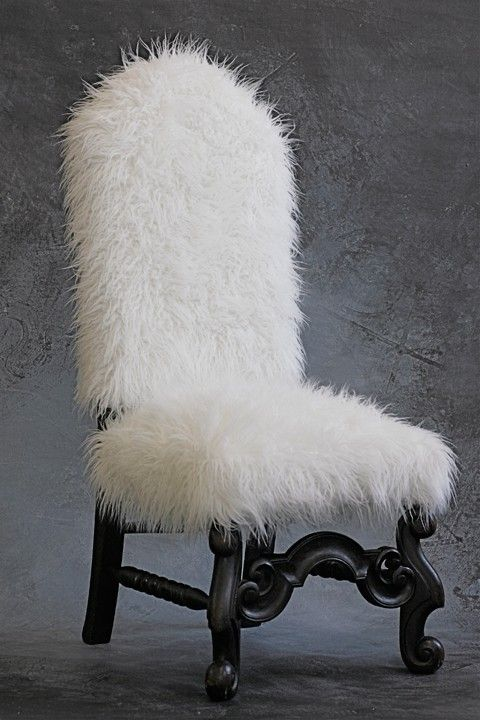 Antique Slipper Chair Covered In White Faux Fur By