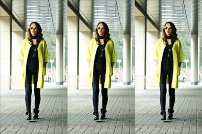 Kolejna propozycja Madame Poupee. Tym razem blogerka postawiła na dwa kolory czerń i niezwykle modny neonowy żółty. Płaszcz w tym kolorze świetnie uzupełnia całą stylizację! Super!