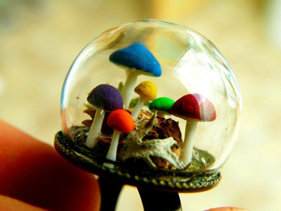 Multi colour Mushrooms  Glass Globe Ring