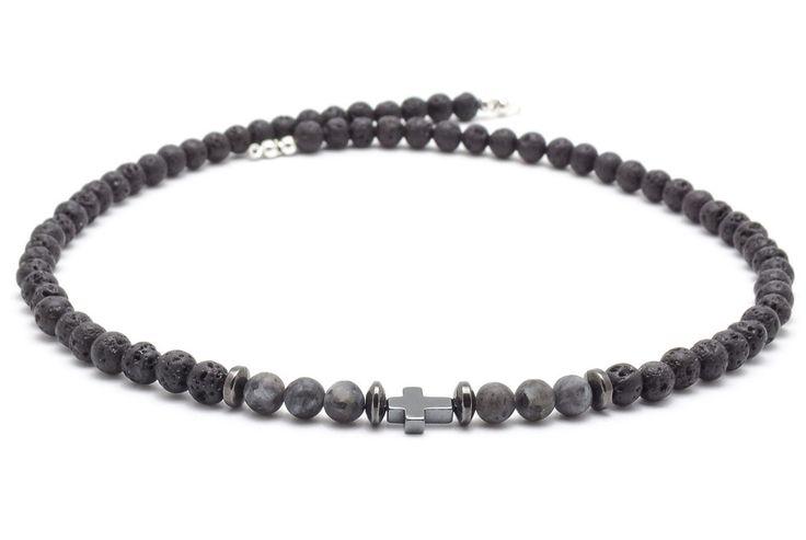 Mens Necklaces – Necklace men volcanic lava hematite larvikit – a unique product by Blackif on DaWanda