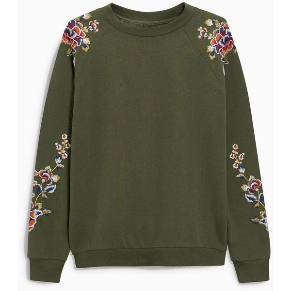 Embroidered Sweat Top ($45) ❤ liked on Polyvore featuring tops, hoodies, sweatshirts, green sweatshirt, embroidered top, embroidered sweatshirts, embroidery top and green top