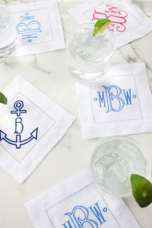 Monogrammed cocktail napkins from Etsy.