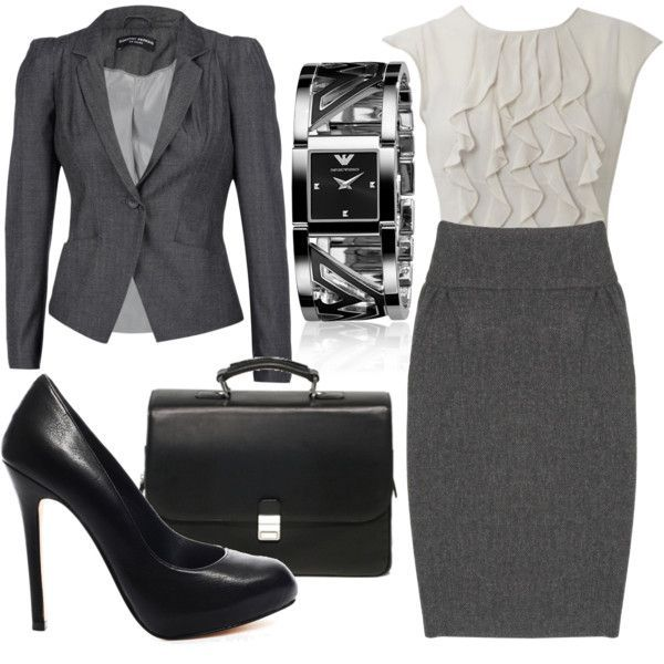 Business casual work outfit with white ruffled top and gray skirt