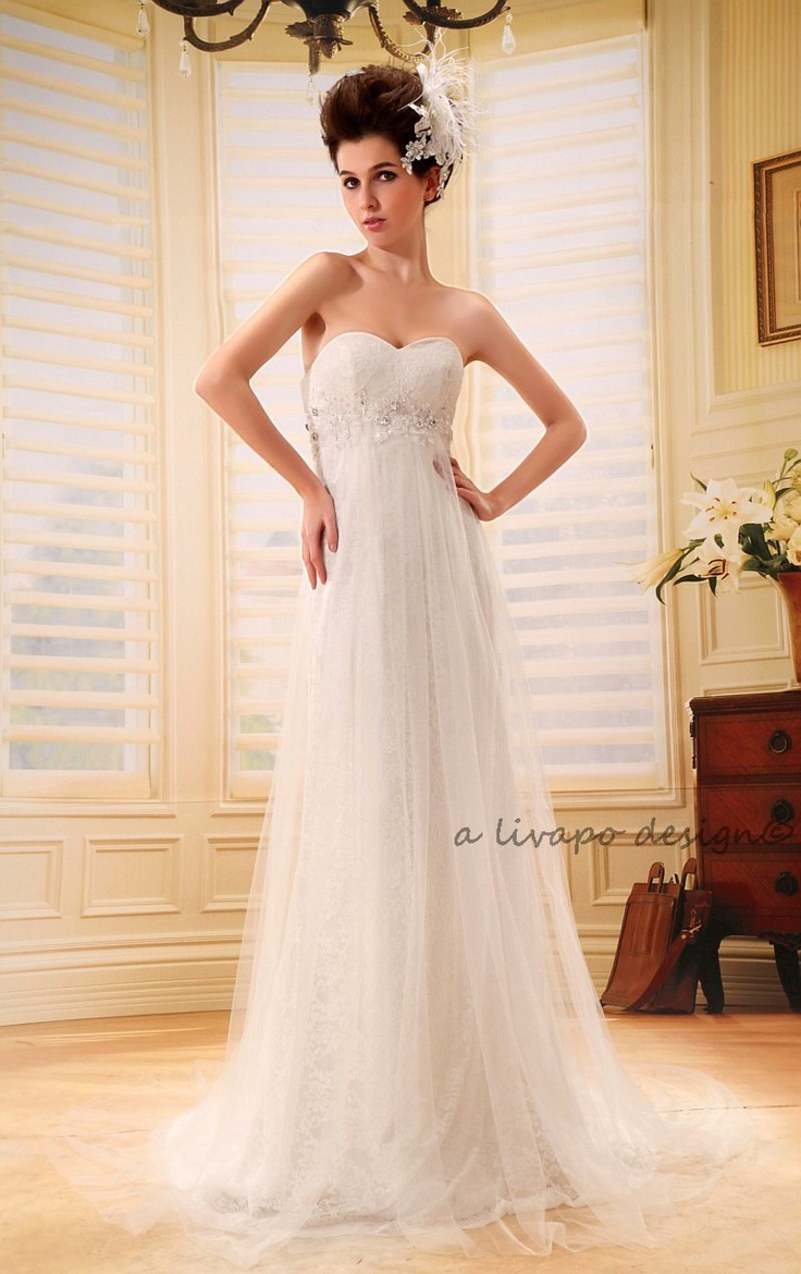 White soft net strapless sweetheart neckline empire for Empire lace wedding dress