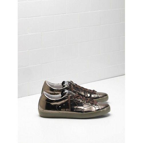 Saldi Buona Golden Goose DB Super Star Uomo Sneakers Argento Marrone - Scarpe Golden Goose Super Star Uomo