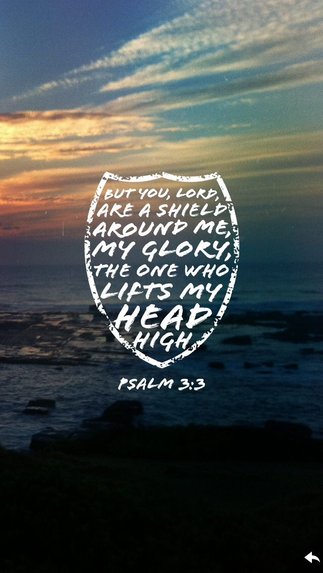 """Psalm 3:3 """"Give to the winds thy fears. Hope and be undismayed: God hears thy sighs and counts thy tears; God shall lift up thy head."""" -Gerhardt/John Wesley"""