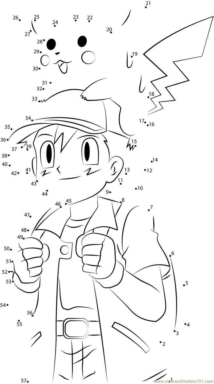 Download or print Cute Ash and Pikachu dot to dot