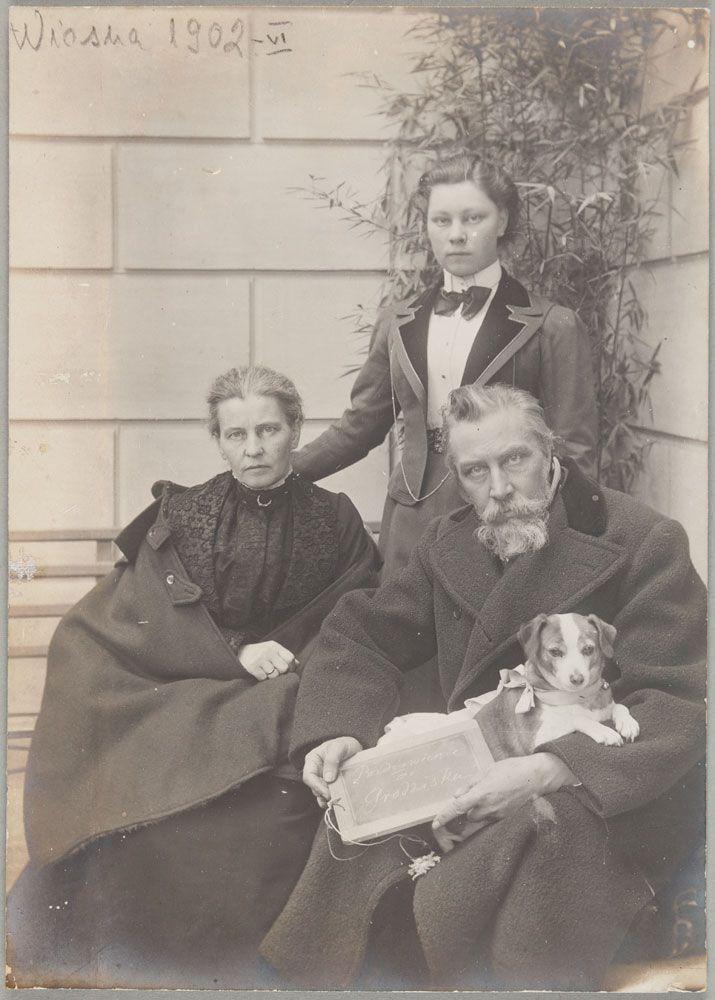 Henryk Siemiradzki z żoną i córką, wiosna 1902 r.