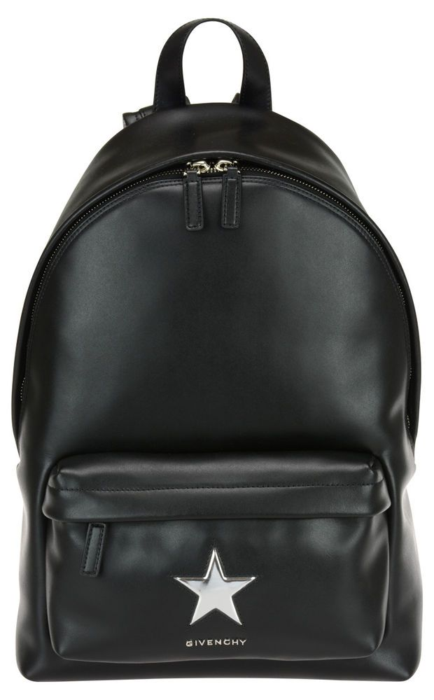 GIVENCHY STAR METALLIC PATCH BLACK SILVER LEATHER BACKPACK  BB05533-655-008 #GIVENCHYSTAR #Backpack