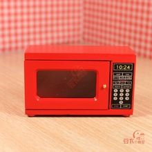 Free Shipping !model of electric appliance red microwave oven kitchen ~1/12 Scale Dollhouse Miniature Furniture(China (Mainland))