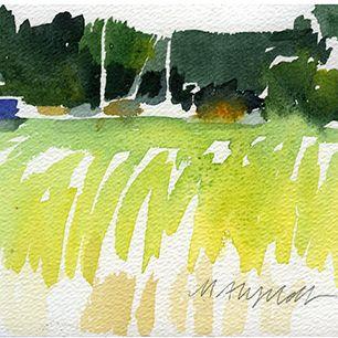 Sommarbild, båtar, vass och skärgård / Summerpainting, boats and reed