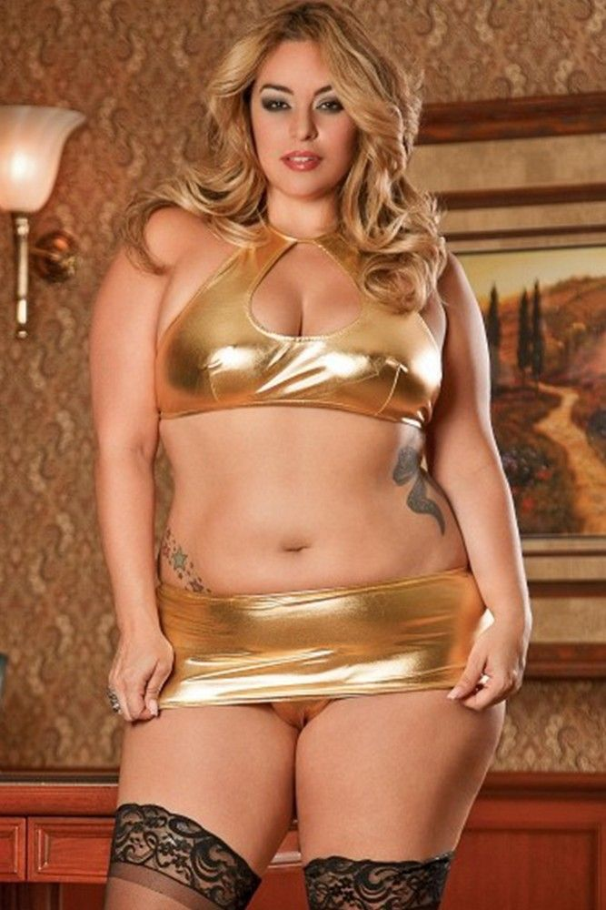 Halter Top & Mini Skirt with G-String in 2X