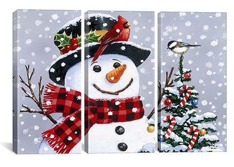 Snowman Art Prints | Home Snowman By William Vanderdasson Canvas Print #HOL52