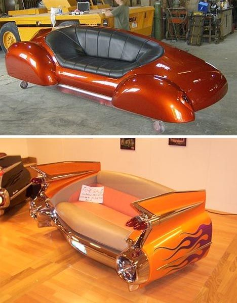 Sleek & Stylish Vintage Car Sofas: Wow, what a radical pair of renovated furniture rides–who would not want to sit between the bumpers of a beautiful old vehicle or rest their arms on the slick tail fins of a classic car?